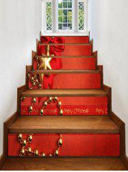 Christmas Bowknot Snowflake Print Decorative Stair Stickers -
