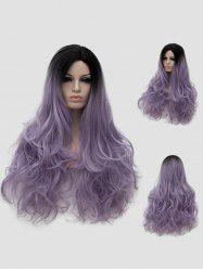 Long Side Parting Ombre Wavy Halloween Party Wig -