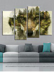 Abstract Forest Wolf Print Unframed Wall Hanging Paintings -