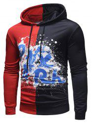 Contrast Color Spatter Letter Pullover Hoodie -
