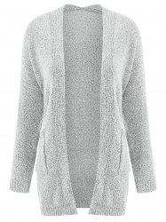 Collarless Long Sleeve Pocket Design Knit Cardigan -