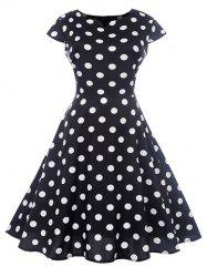 Retro Polka Dot High Waist Dress -