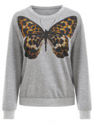 Sweat-shirt Papillon Imprimé - Nuage Gris S