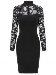 Lace Sleeve Cut Out Slim Fit Dress -