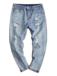 Destroy Wash Turnup Bottom Casual Jeans -
