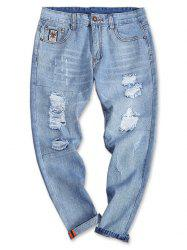 Turnup Bottom Light Wash Torned Jeans -