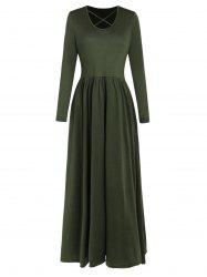 Full Sleeve High Waist Maxi Dress -
