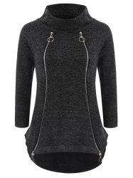 Asymmetrical Zipper Sweater with Loop Scarf -