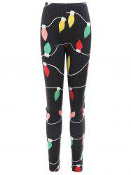 Christmas Lights Print Slim Fit Leggings -