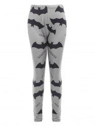 Halloween Bats and Letters Print Leggings -