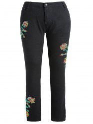Floral Embroidery Plus Size Skinny Jeans -