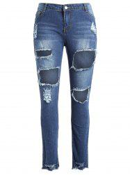 Fishnet Panel Plus Size Torn Jeans -