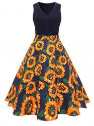 Vintage Sunflower Print Fit and Flare Dress -