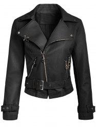 Belted Zippers Faux Leather Jacket -