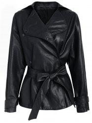 Faux Leather Belted Turndown Collar Jacket -