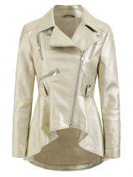 Faux Leather High Low Zip Jacket -