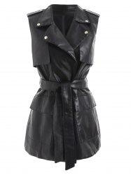Faux Leather Waistcoat with Belt -