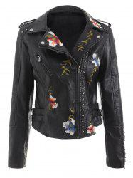 Faux Leather River Embroidered Jacket -