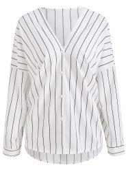 Vertical Stripe V Neck Shirt -