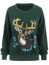 Christmas Deer Print Sweatshirt -