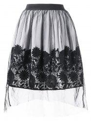 Lace Applique Mesh Overlap A Line Skirt -
