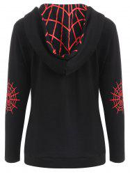 Halloween Spider Web Print Zip Up Hoodie -