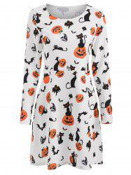 Halloween Pumpkins Print Flare Dress -