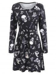 Halloween Skulls Butterflies Print Flare Dress -