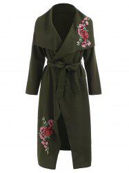 Floral Embroidery Maxi Wrap Coat -