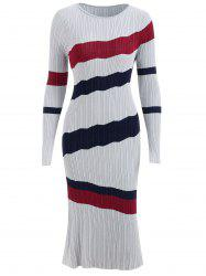 Striped Ribbed Sweater Dress -