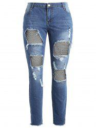 Plus Size Fishnet Panel Torn Jeans -