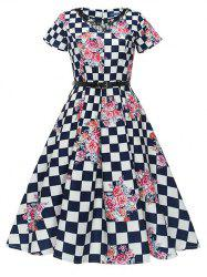 Vintage Checked Floral Print Swing Dress -