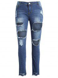 Plus Size Fringed Torn Jeans -