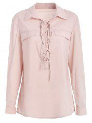Criss Cross Plunging Neckline Full Sleeve Shirt -
