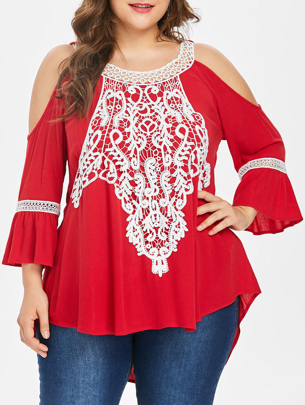 a59f8723c3309 64% OFF   2019 Plus Size Flare Sleeve Cold Shoulder Blouse