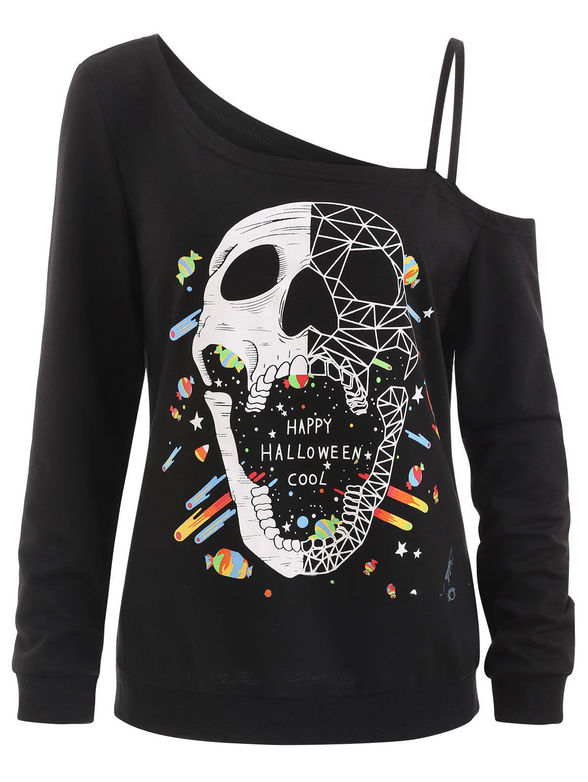 Discount Halloween Cold Shoulder Skull Sweatshirt