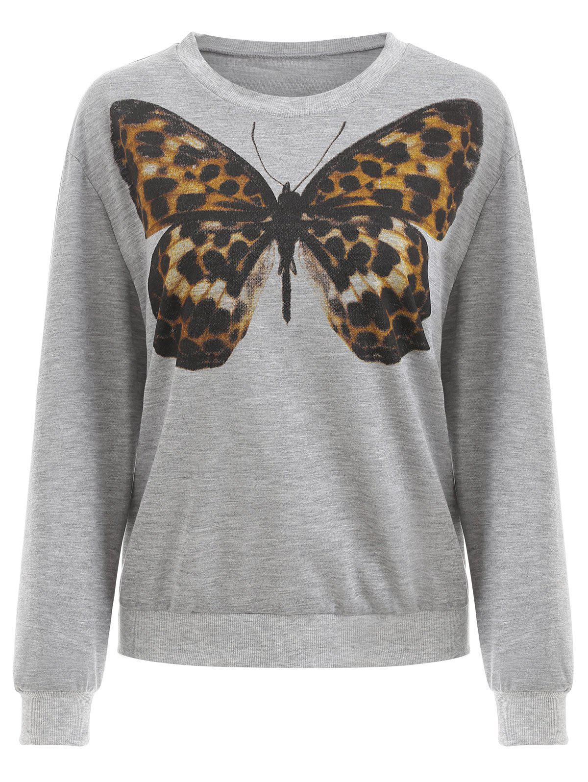 Sweat-shirt Papillon Imprimé Nuage Gris S
