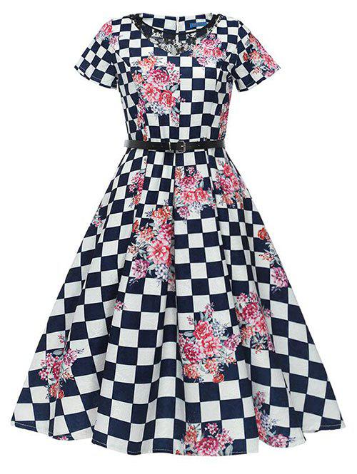 Shop Vintage Checked Floral Print Swing Dress