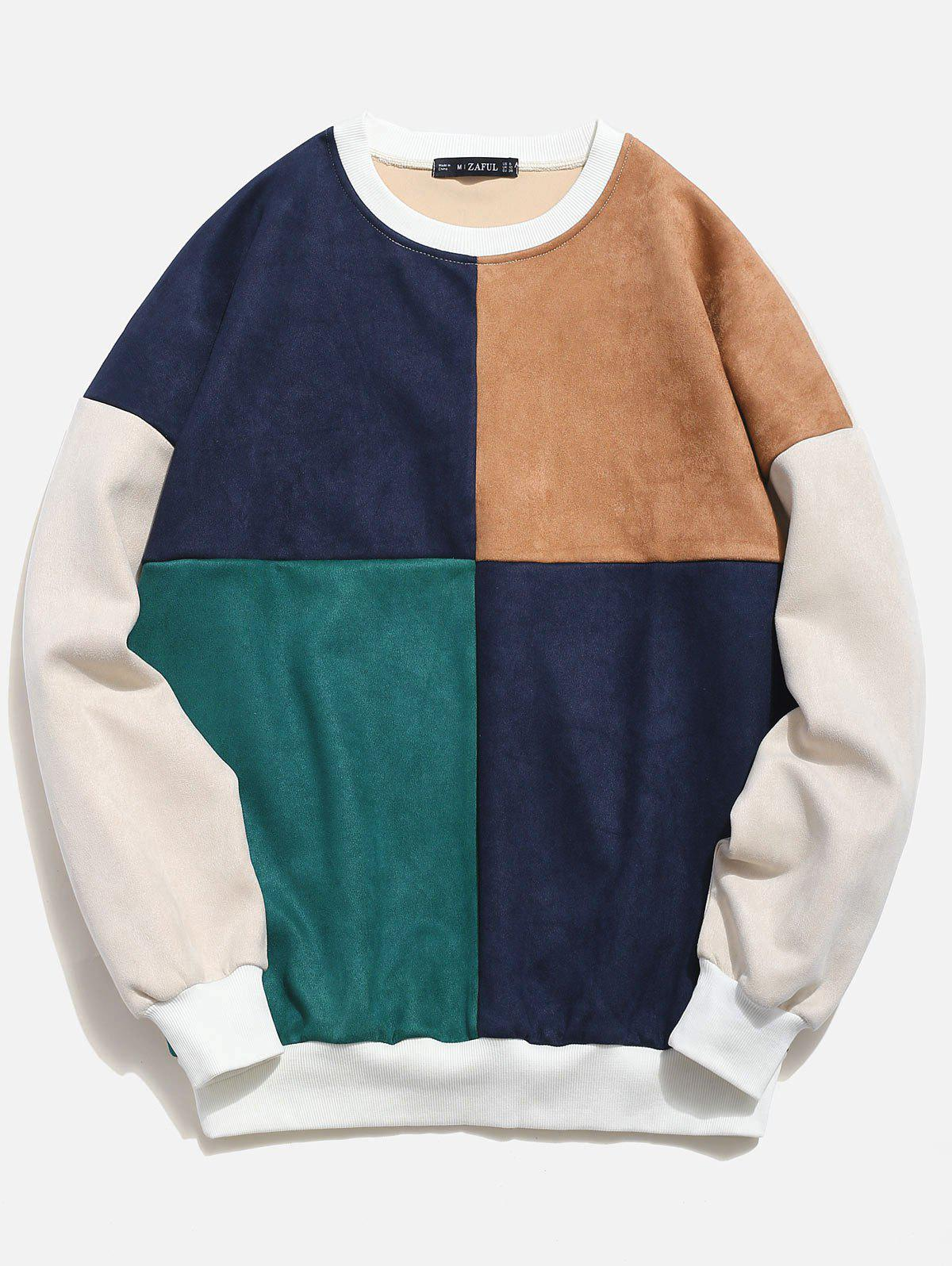8a87f3cffb2b 2019 Zaful Color Block Splicing Suede Sweatshirt