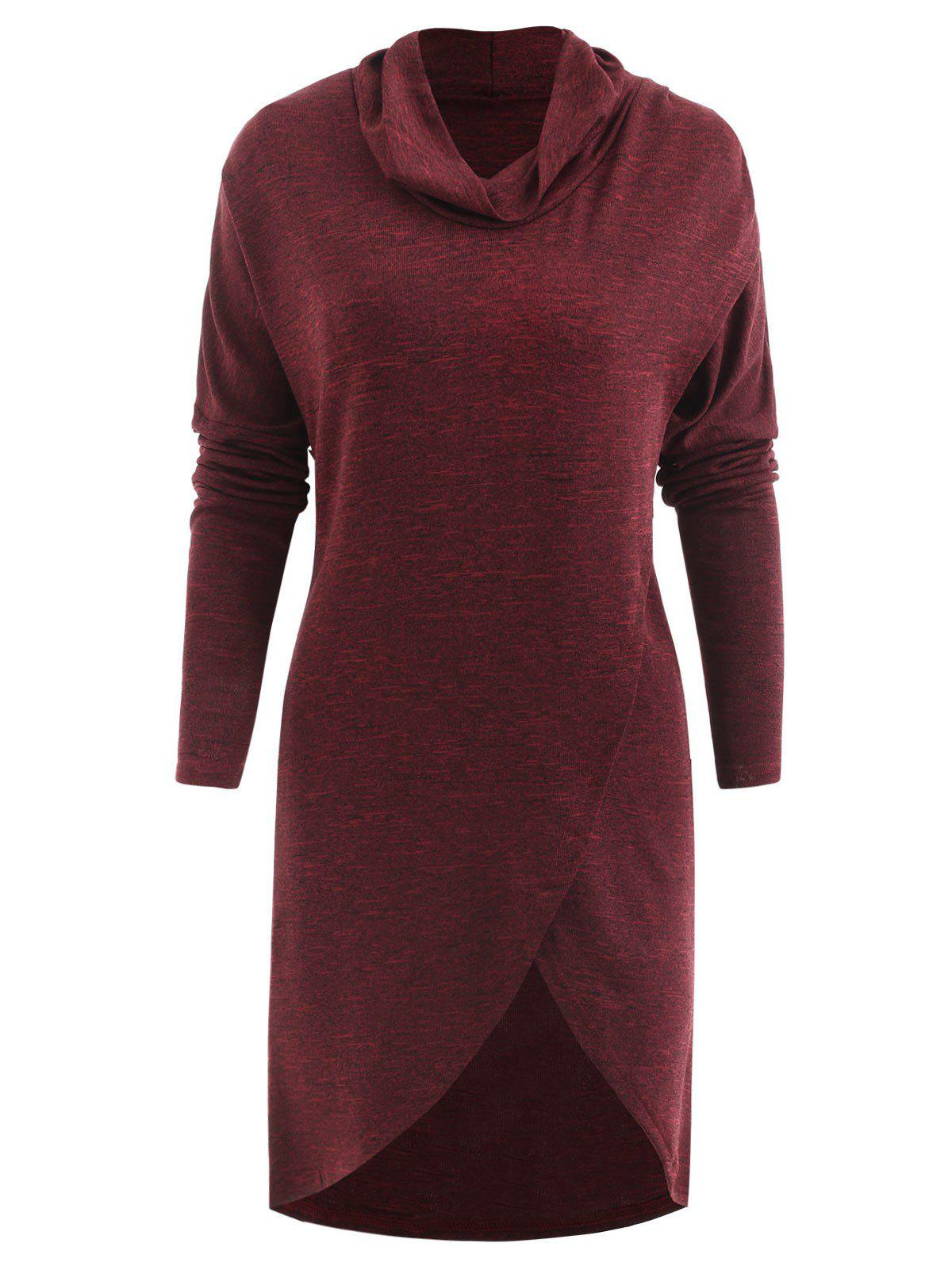 Sale Front Slit Cowl Neck Sweatshirt