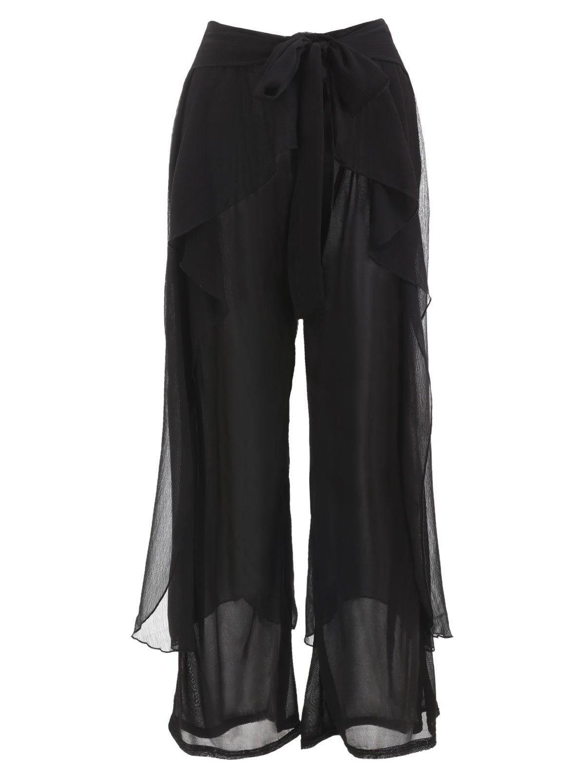 Outfits Chiffon Ruffle Wide Leg Pants