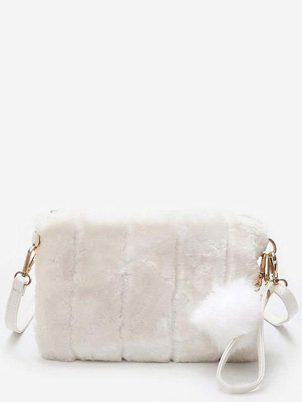 Fashion Solid Color Faux Fur Pompom Clutch Bag