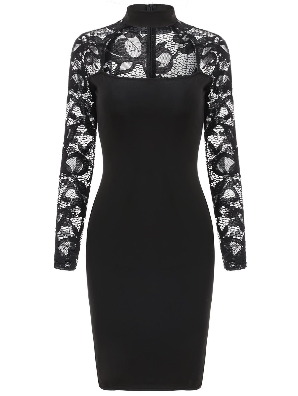 Cheap Lace Sleeve Cut Out Slim Fit Dress