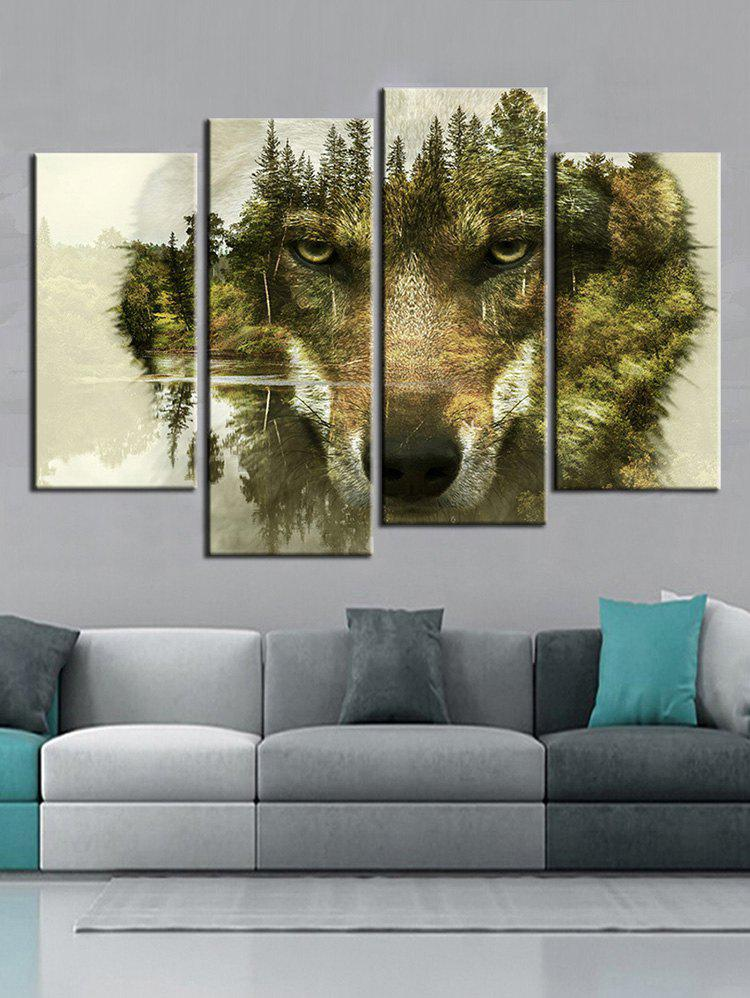 28 Off 2019 Abstract Forest Wolf Print Unframed Wall Hanging