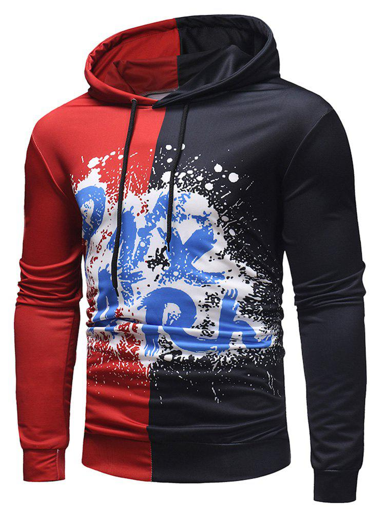 New Contrast Color Spatter Letter Pullover Hoodie