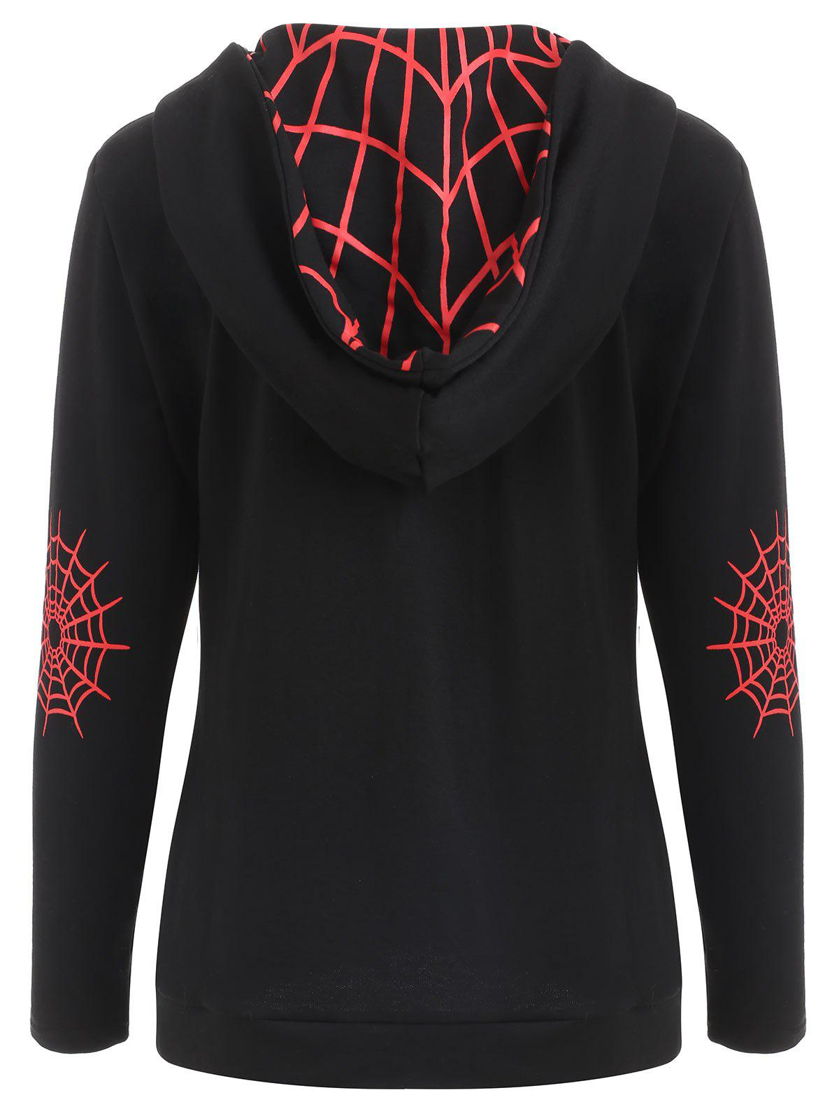 Sale Halloween Spider Web Print Zip Up Hoodie