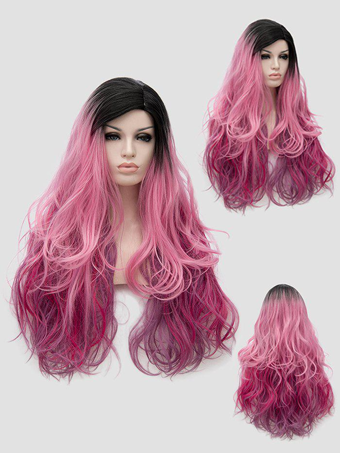 Trendy Long Side Parting Colorful Wavy Party Synthetic Wig