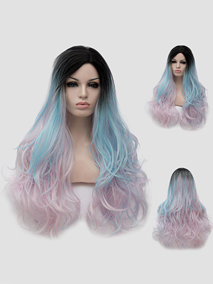 Outfit Long Side Parting Colormix Wavy Party Wig