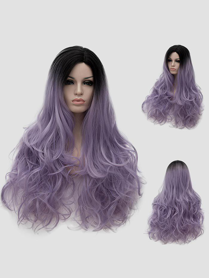 Hot Long Side Parting Ombre Wavy Halloween Party Wig