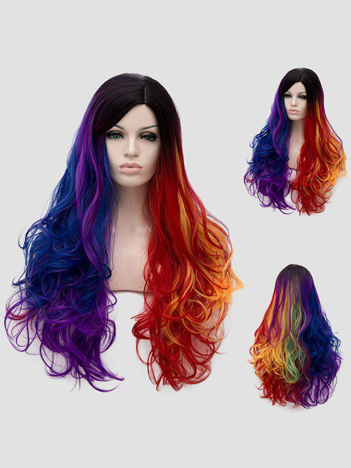 Fashion Long Side Parting Colorful Wavy Rainbow Party Synthetic Wig